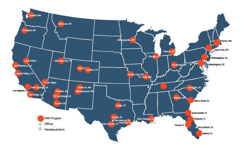 A map of PWI Construction locations across the US