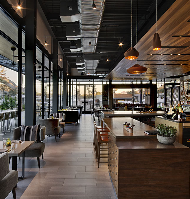 Interior shot of Andaz Scottsdale restaurant during the day