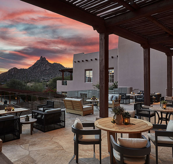 the Four Seasons Scottsdale Resort patio at sunset