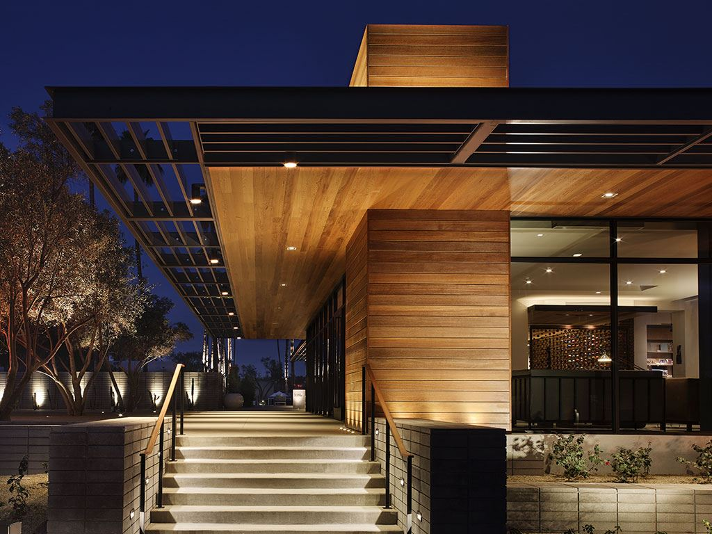 Exterior steps of the Andaz Scottsdale Resort at night