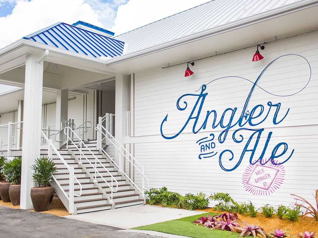 Exterior of the Angler & Ale with the logo