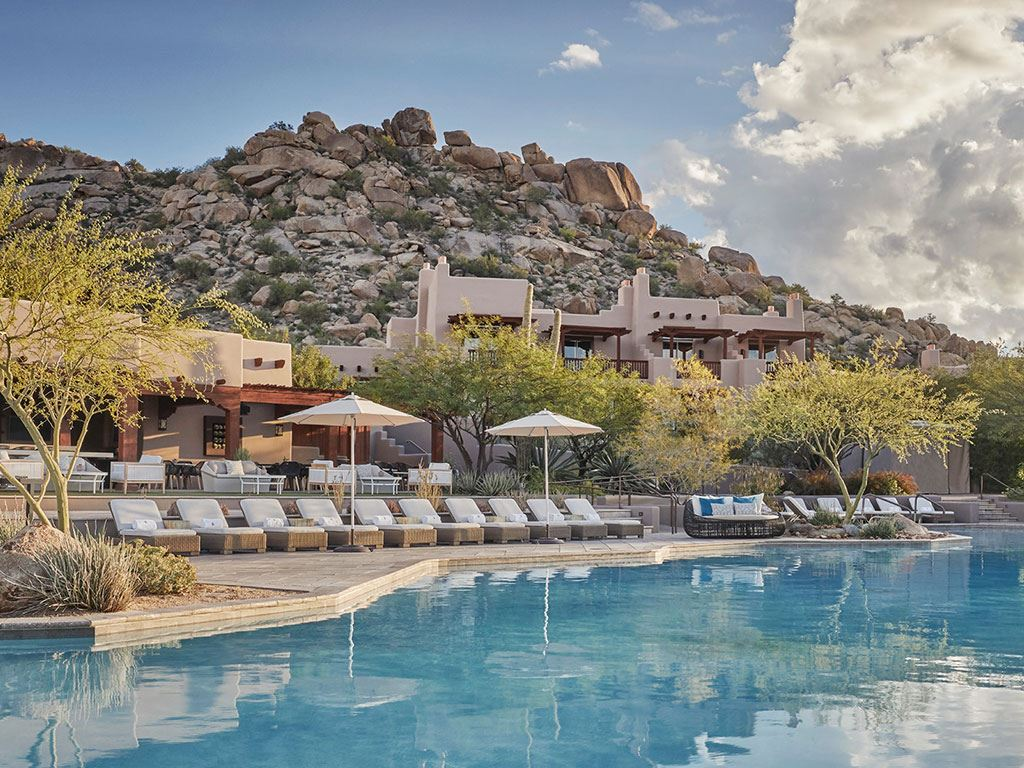 A shot of the pool at the Four Seasons Scottsdale Resort