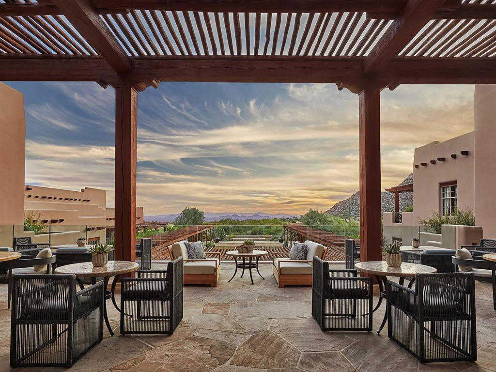 A beautiful patio overlooking the Sonoran desert the Four Seasons Scottsdale Resort