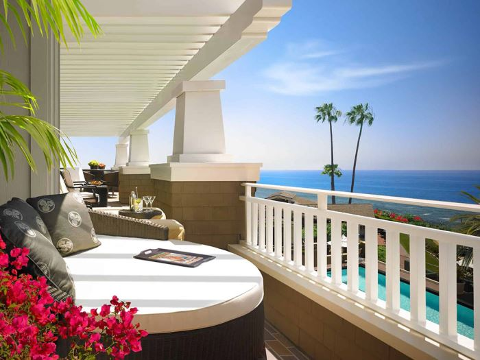 A second floor patio overlooking the resort at the Montage Laguna Beach hotel