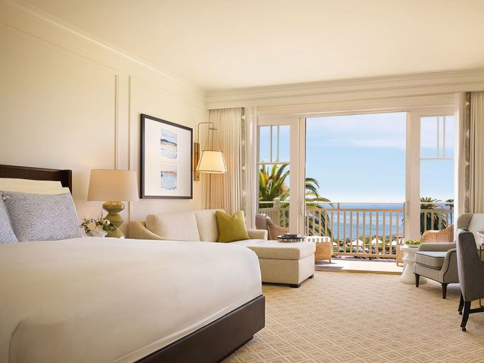 A refurbished guest bedroom at the Montage Laguna Beach hotel