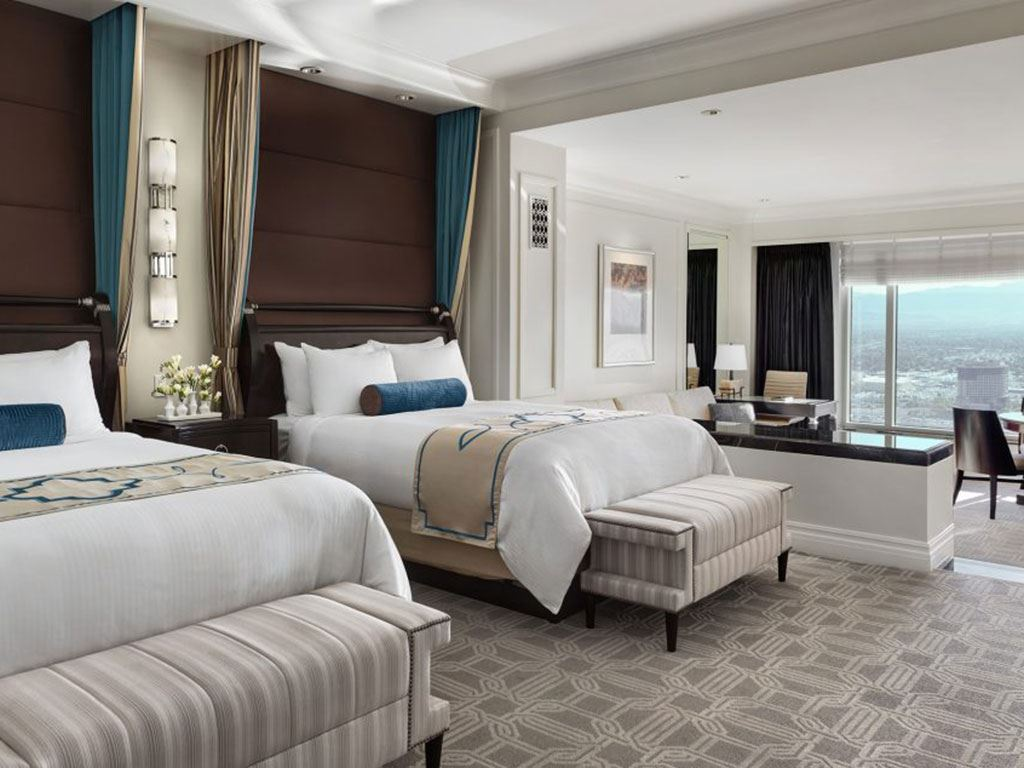 A look at the beds inside a two bed suite inside the Palazzo Suite
